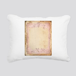Vintage Rose Frame Rectangular Canvas Pillow