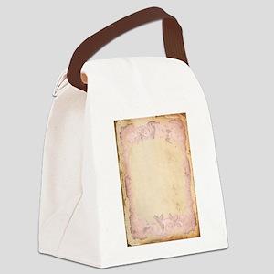 Vintage Rose Frame Canvas Lunch Bag