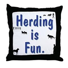 Herding Fun Throw Pillow