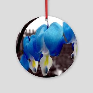 Bleeding Heart Flowers (Blue Edit) Ornament (Round