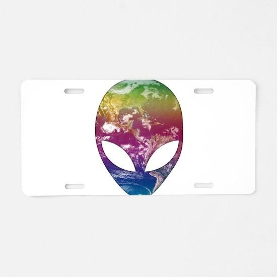 Cosmic Alien Aluminum License Plate
