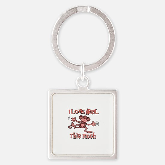 I love Abril this much Square Keychain