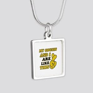 Me and Cousin are like this Silver Square Necklace