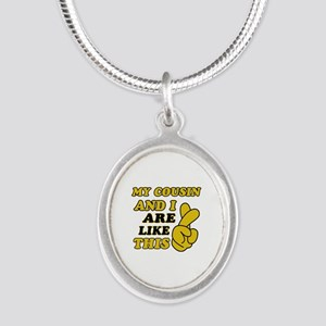 Me and Cousin are like this Silver Oval Necklace