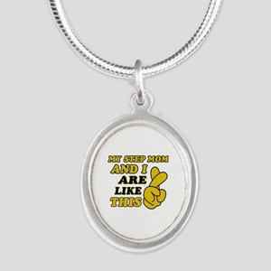 Me and Step Mom are like this Silver Oval Necklace