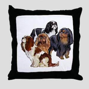 toy spaniel group Throw Pillow