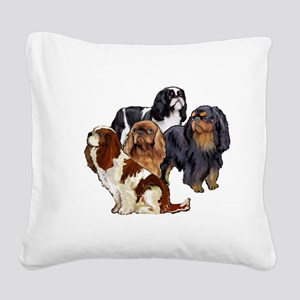 toy spaniel group Square Canvas Pillow