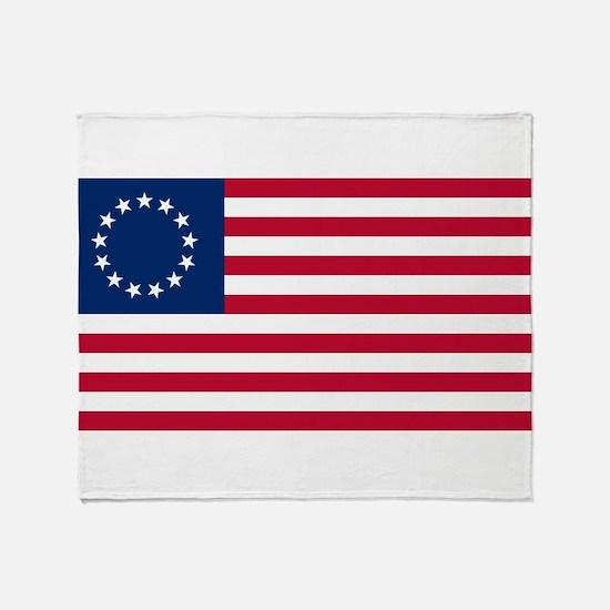 US 2nd - 13 Stars Betsy Ross Flag Throw Blanket