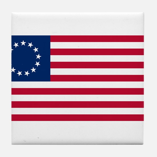 US 2nd - 13 Stars Betsy Ross Flag Tile Coaster
