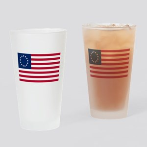 US 2nd - 13 Stars Betsy Ross Flag Drinking Glass