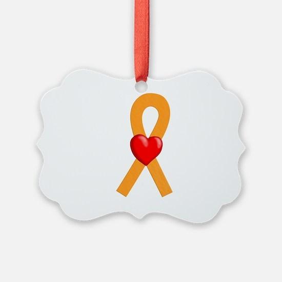 Orange Heart Ribbon Ornament
