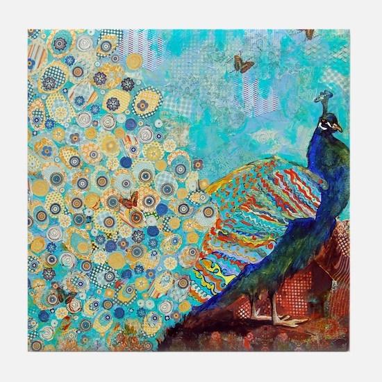 Peacock Paparazzi Collage Tile Coaster