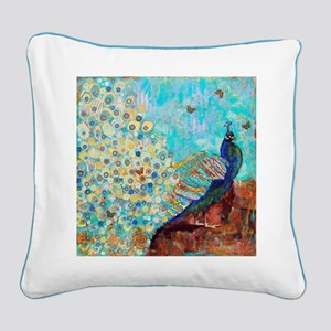 Peacock Paparazzi Collage Square Canvas Pillow