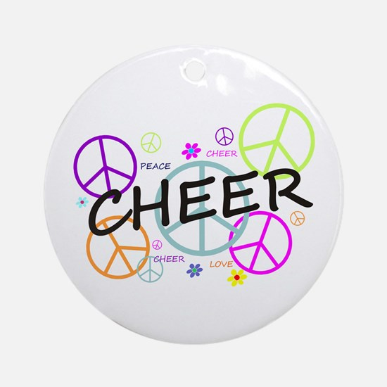 Cheer Peace Sign Ornament (Round)