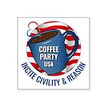 "3.25"" Square Sticker   Coffee Party Usa"