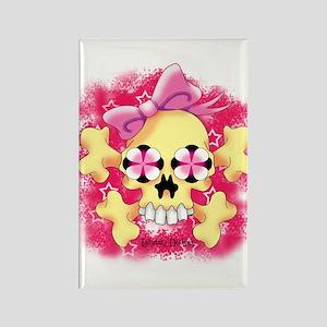 Fem Skull Croos Bone w Red Rectangle Magnet