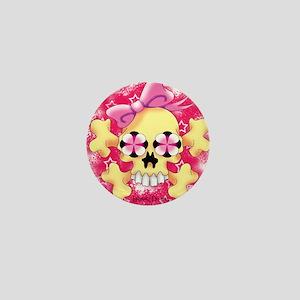 Fem Skull Croos Bone w Red Mini Button
