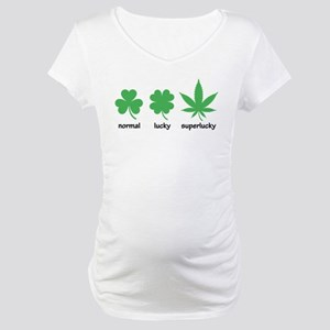 Superlucky Hemp Leaf (black font) Maternity T-Shir