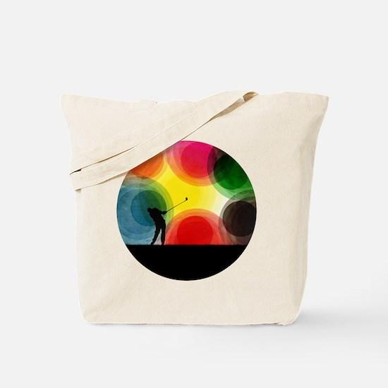 Colorful Retro Silhouette Golfer Tote Bag