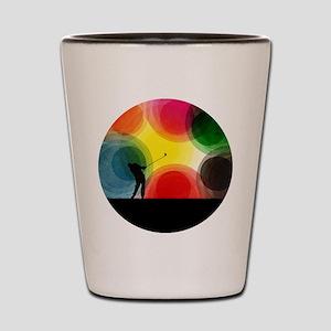 Colorful Retro Silhouette Golfer Shot Glass