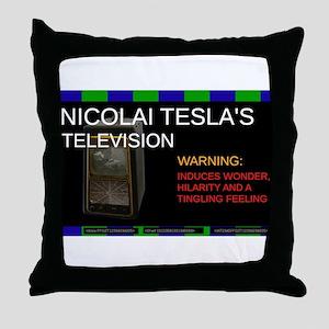 Nicolai Tesla's television Throw Pillow