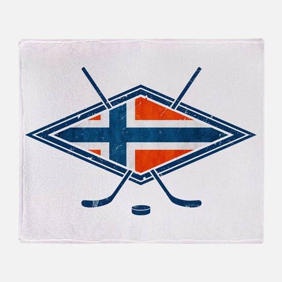 Norsk Ishockey Flag Throw Blanket