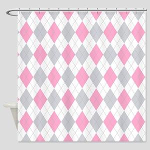 Pink Gray Argyle Pattern Shower Curtain