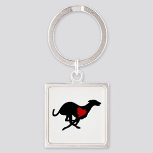 Greyhound Square Key Ring Hearthound