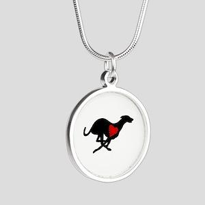 Greyhound Silver Round Necklace Hearthound