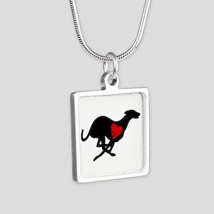 Greyhound Silver Square Necklace Hearthound