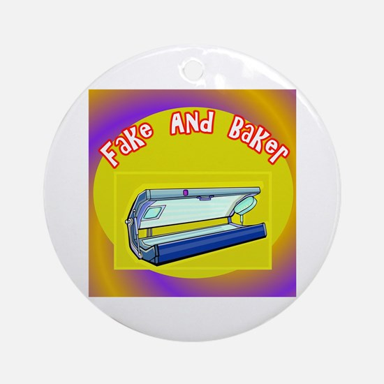 Fake and Bake Tanning Ornament (Round)
