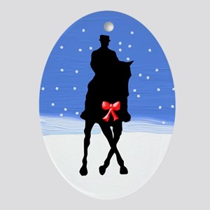 Christmas Dressage Horse Oval Ornament