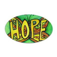 Hope Word Green Butterfly Wall Decal