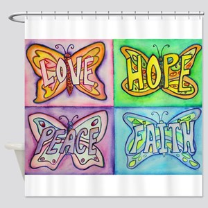 Inspirational Butterfly Word Wings Shower Curtain