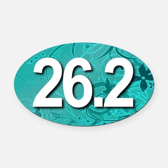Super Unique 26.2 (teal version) Oval Car Magnet