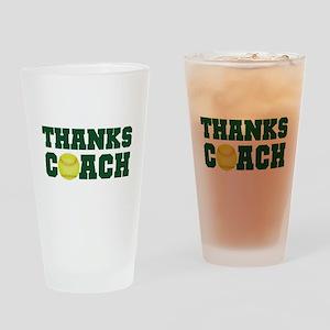 Thanks Softball Coach Drinking Glass