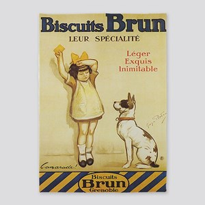 Biscuits Brun, Cookie, Dog, Vintage Poster 5'x7'Ar