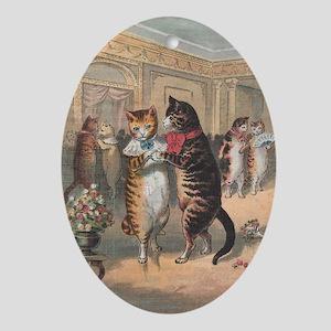 Cats Dancing, Vintage Art Ornament (Oval)