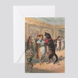 Cats Dancing, Vintage Art Greeting Card