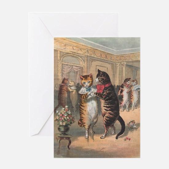 Cats Dancing, Vintage Art Greeting Card