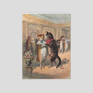 Cats Dancing, Vintage Art 5'x7'Area Rug