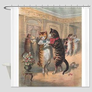 Cats Dancing, Vintage Art Shower Curtain