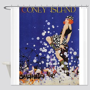 Coney Island, Vintage Poster Shower Curtain