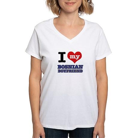I love my Bosnian Boyfriend Women's V-Neck T-Shirt