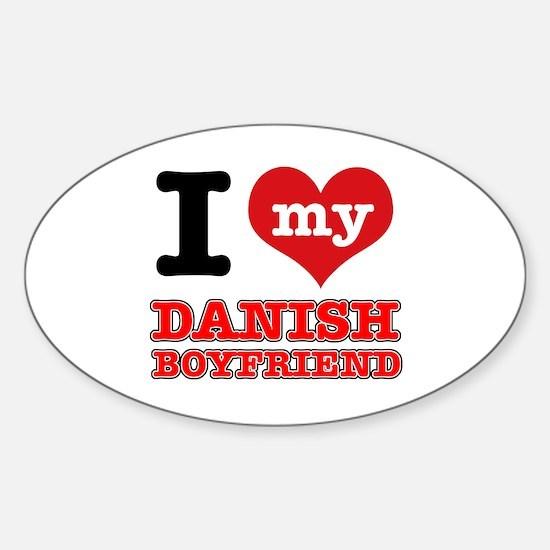I love my Danish Boyfriend Sticker (Oval)