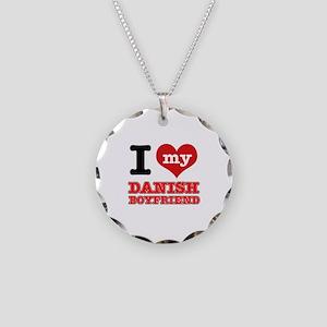 I love my Danish Boyfriend Necklace Circle Charm
