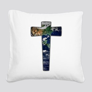 Cross - Earth Square Canvas Pillow