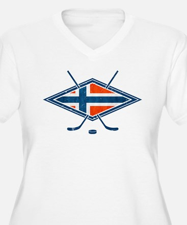 Norsk Ishockey Flag Plus Size T-Shirt