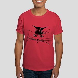 Black Cat Face Dark T-Shirt