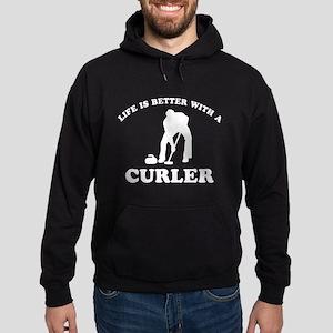 Curler vector designs Hoodie (dark)
